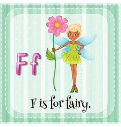 Flashcard letter f is for fairy vector