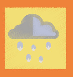 Flat shading style icon cloud hail vector