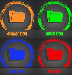 Folder icon Fashionable modern style In the orange vector image