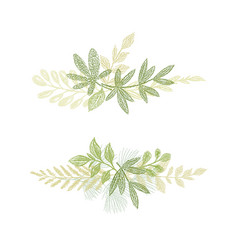 Green floral branch hand drawn composition vector