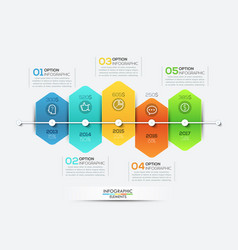 Infographic design template with timeline and 5 vector