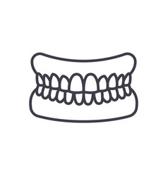 jaw with teeth line icon sign vector image