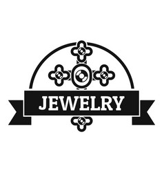 Jewelry cross logo simple black style vector