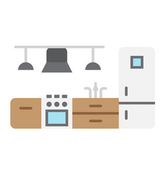 Kitchen furniture flat icon and interior vector