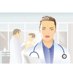 Medician with stethoscope vector image vector image