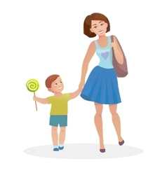 Mom and young son walking vector image vector image