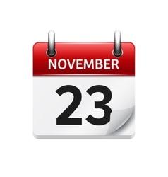 November 23 flat daily calendar icon vector