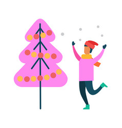 Person have fun near abstract decorated pink tree vector