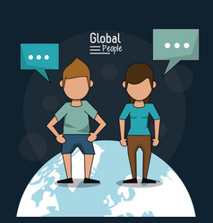 Poster of global people with dark blue background vector