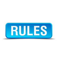 Rules blue 3d realistic square isolated button vector