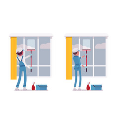 Set of male and female janitor window cleaning vector