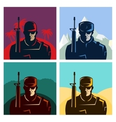 Soldier badges or avatars set Silhouette with vector image vector image
