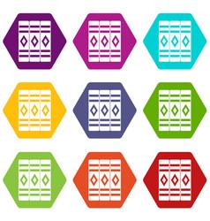 Three literary books icon set color hexahedron vector