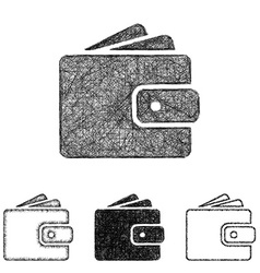 Wallet icon set - sketch line art vector