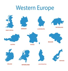 western europe - maps of territories vector image