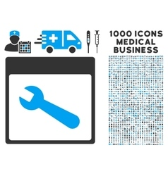Wrench tool calendar page icon with 1000 medical vector