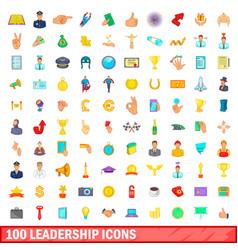 100 leadership icons set cartoon style vector