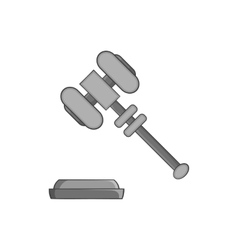 Judges gavel icon black monochrome style vector