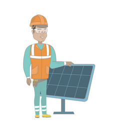 Young hispanic worker of solar power plant vector