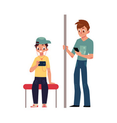 two teenagers boys sitting and standing in subway vector image