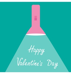 Pink flashlight with ray of light Valentines day vector image