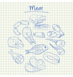 Meat doodles squared paper vector