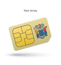 State of new jersey phone sim card with flag vector