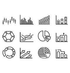 Business statistics outline icon set vector