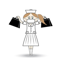 Nurse wearing a mask carrying aid vector