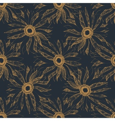 Seamless vintage cute hand drawn flower pattern vector