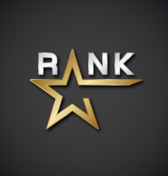 Eps10 rank golden star inscription icon vector