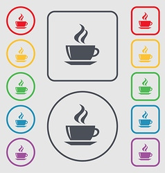 Tea coffee icon sign symbol on the round and vector