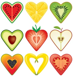 Heart shaped healthy fruits halves icon collection vector