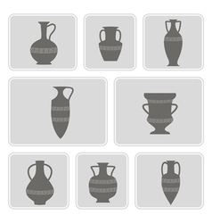 Set of monochrome icons with antique amphoras vector