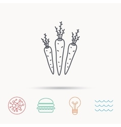 Carrots icon vegetarian food sign vector