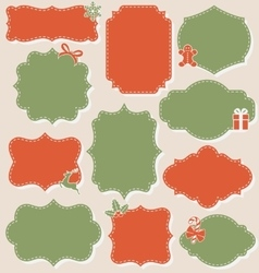 Set of Christmas Vintage Labels Frames Collection vector image