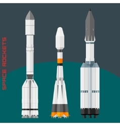 Russian space rockets set vector