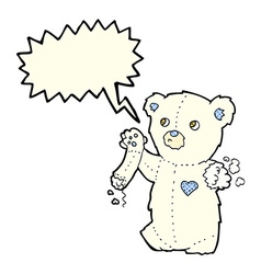 Cartoon teddy polar bear with torn arm with speech vector