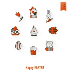 Celebration easter icons vector