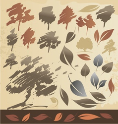 Tree and leaf vector image