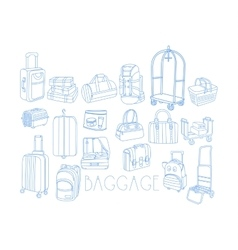 Baggage related object set with text vector