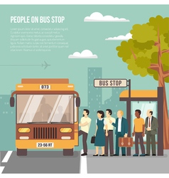 City bus stop flat poster vector