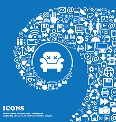 Armchair icon sign Nice set of beautiful icons vector image