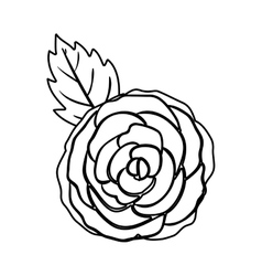 Black silhuette rose with leaf vector