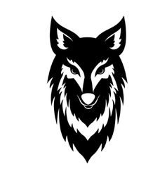 Black wolf face logo vector