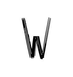 capital letter w painted by brush vector image