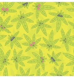 Cartoon kawaii weed seamless pattern green vector