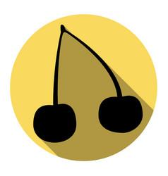 cherry sign flat black icon vector image
