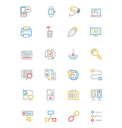Communication colored outline icons 4 vector