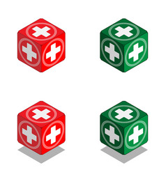Cube with medical cross in isometric view vector